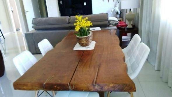 Mesa rústica na decoração da sala de jantar 014