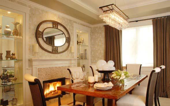 Mesa rústica na decoração da sala de jantar 015