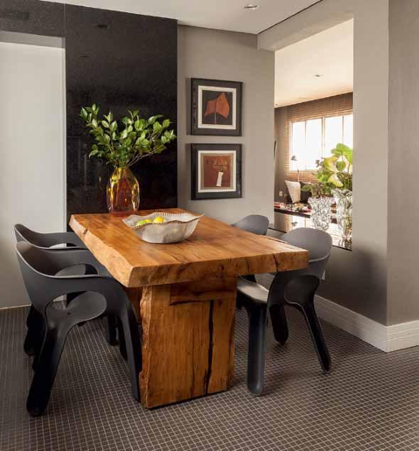 Mesa rústica na decoração da sala de jantar 017