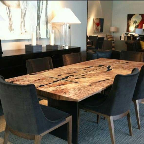 Mesa rústica na decoração da sala de jantar 018