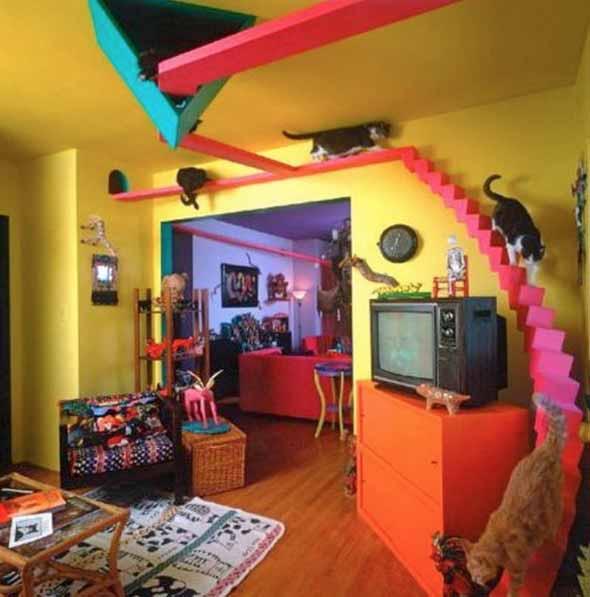 Escadas para gatos nas paredes 004