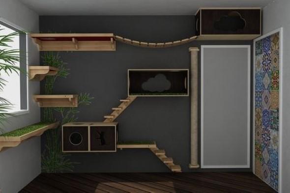 Escadas para gatos nas paredes 009