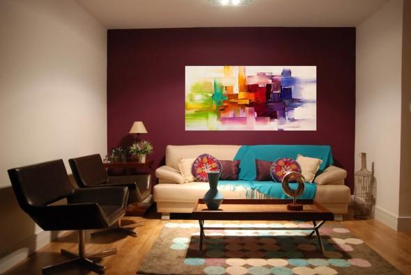 Sala com decoração multicolorida 005