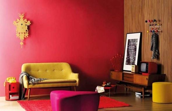 Sala com decoração multicolorida 015