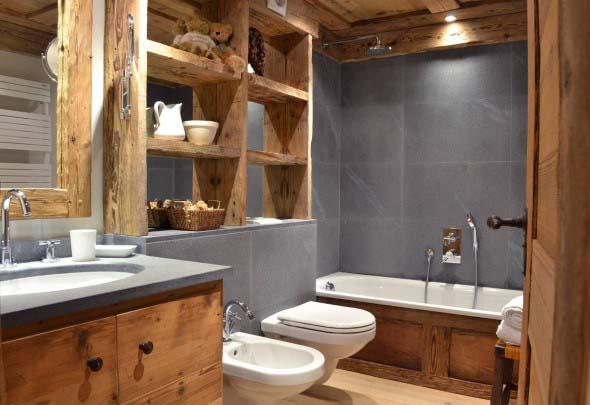 Madeira rústica na decoração do banheiro 003