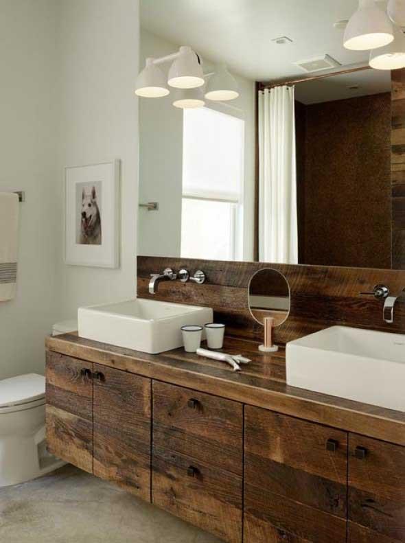 Madeira rústica na decoração do banheiro 009