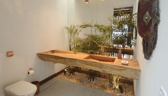Madeira rústica na decoração do banheiro 013