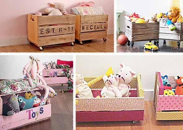 Caixotes de feira no quarto das crianças 010