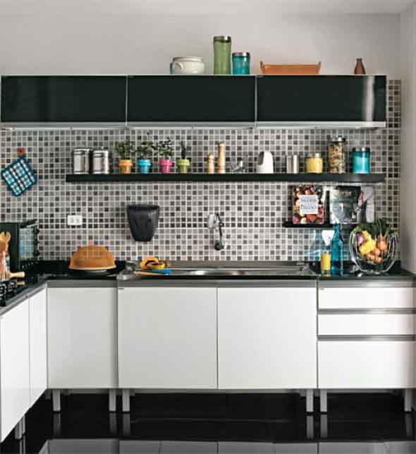 Dicas para decorar cozinhas preto e branco 005