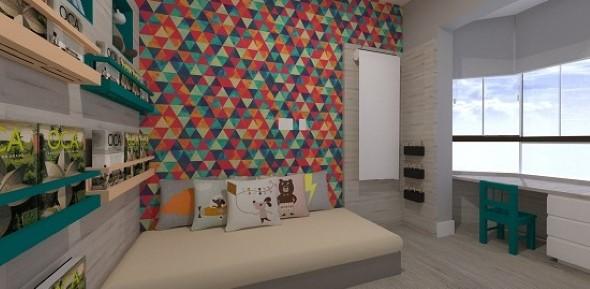 Papel de parede geométrico na decoração 002