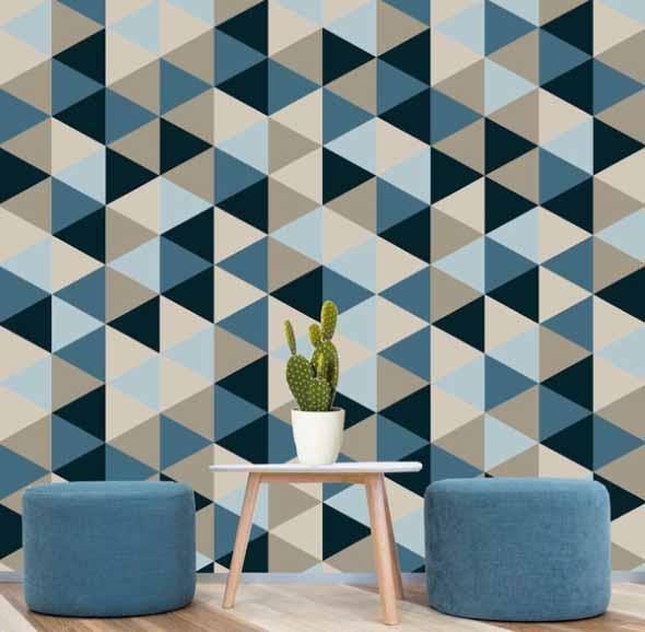 Papel de parede geométrico na decoração 003