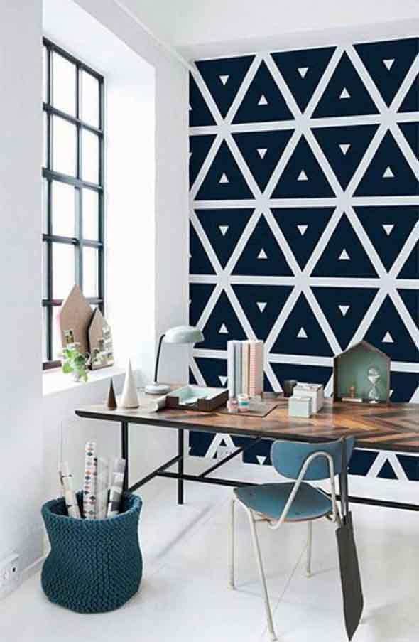 Papel de parede geométrico na decoração 004