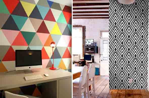 Papel de parede geométrico na decoração 007