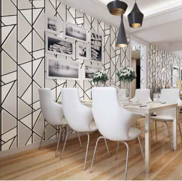 Papel de parede geométrico na decoração 017