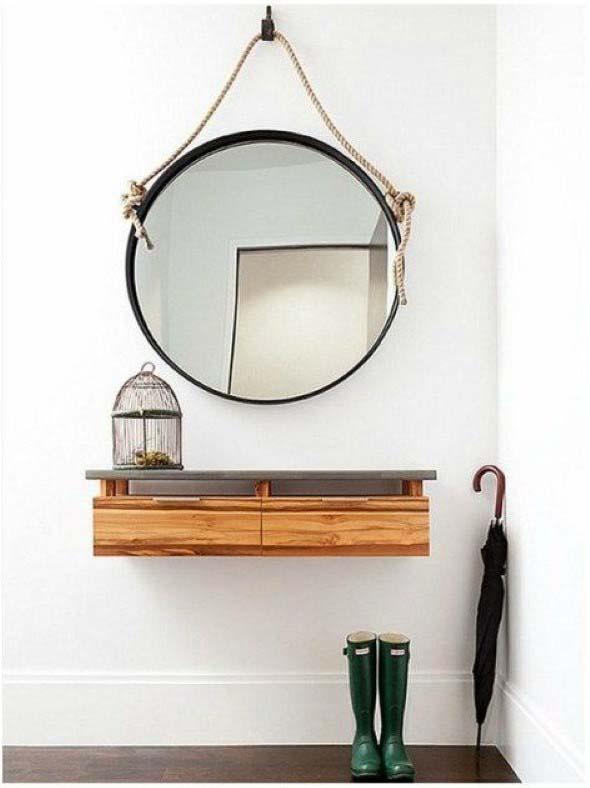 Modelos de espelhos redondos na decoração 002